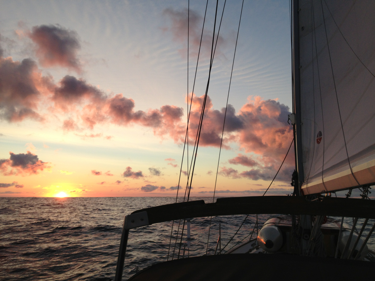 sunrise over the Pacific aboard Onyx